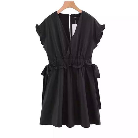 Black V Neck Elastic Waist Mini Dress with Ruffles Bow Tie Sashes and Ruffles Short Sleeves