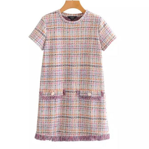 Round Neck Tweed Short Sleeves Dress with Tassels Details