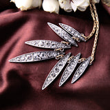 Crystal Leaf Design Pendants Necklaces