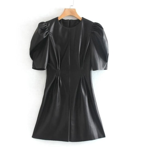 Black Faux Leather Puff Sleeve Mini Dress