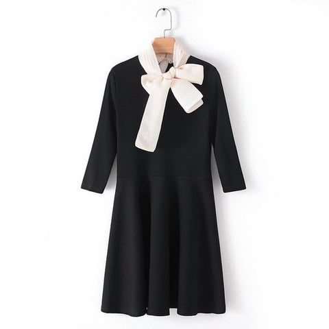 Elegant Bow Neck Knit Dress with 3/4 Sleeves Mini Dress