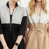 Color Contract Two-Wear Zip Jacket Dresses with Waist Tie