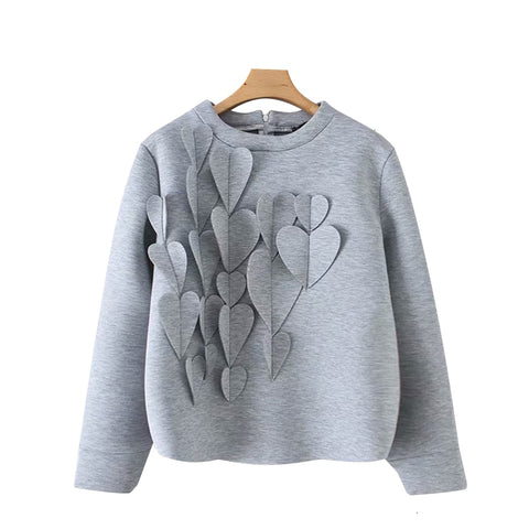 Gray Cute Patchwork Applique Sweatshirt