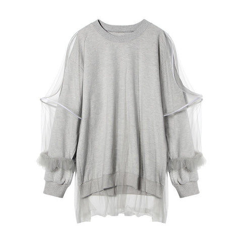 Unique Grey Casual Double Layer Mesh Top