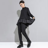 Relax Fit Turtleneck Asymmetrical Ruffles Top