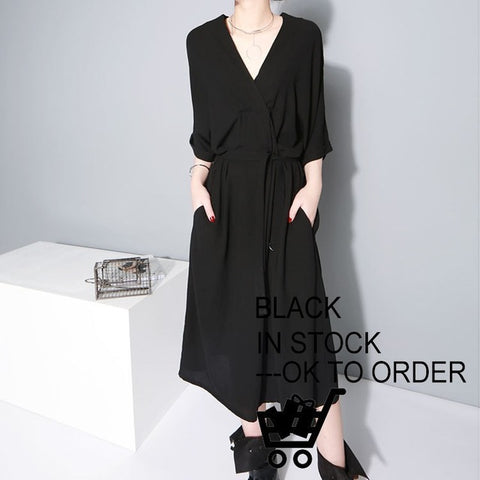 Black V-Neck Half Sleeve Oversize Dress With Belt