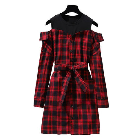 Korean Style Cute Red Plaid Off-Shoulder Shirt Dress with Belt