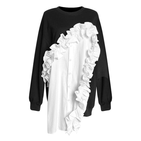 Black and White Loose Fit Ruffle Shirt Front Sweatshirt