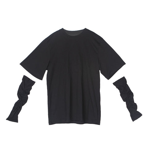 Black Trendy Oversize T-shirt with Elbow Long Gloves