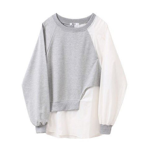 Grey/ White Relax Fit Split Joint Sweatshirt