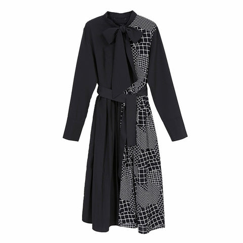 Black Unmatched Pattern Shirt Dress with Bow Collar