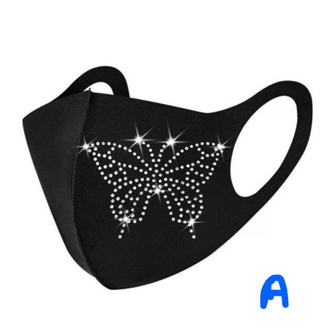 Fashionable Crystal Embellished  Face Mask