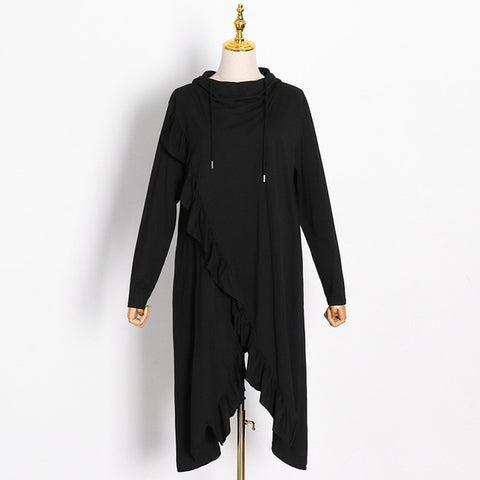Black Ruffles Faux Wrap Oversize Hoodie Dress