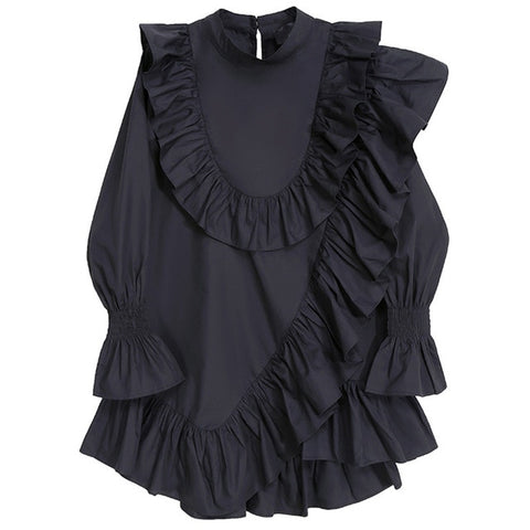 Stand Collar Ruffle Long Sleeve Loose Fit  Shirt