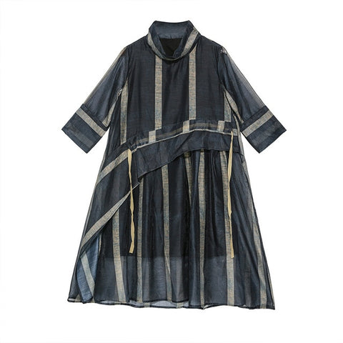 Sheer Turtleneck Three-quarter Sleeve Loose Fit Striped Dress