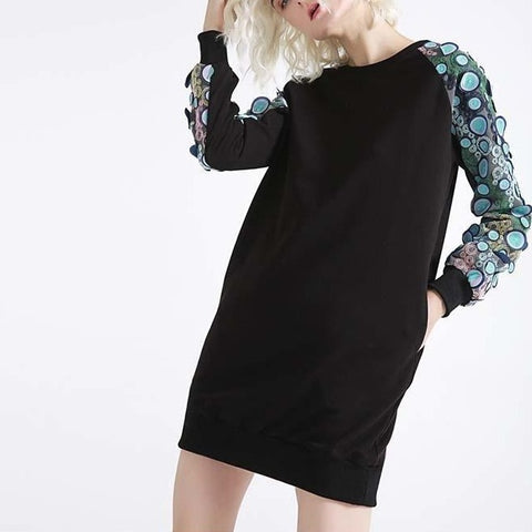 Black Loose Fit Dress with 3D Patchwork Sleeves