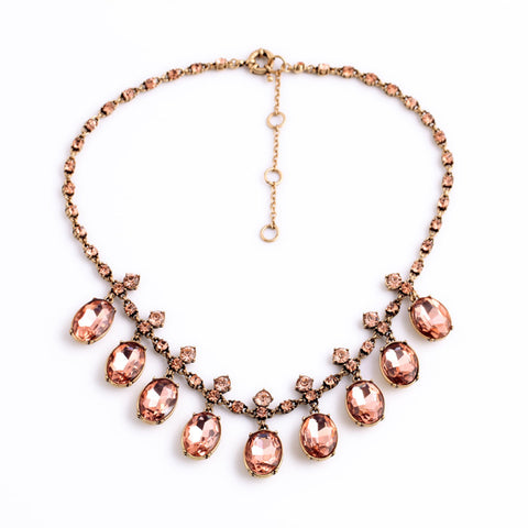 Pink Vintage Tear Drop Crystal Necklace