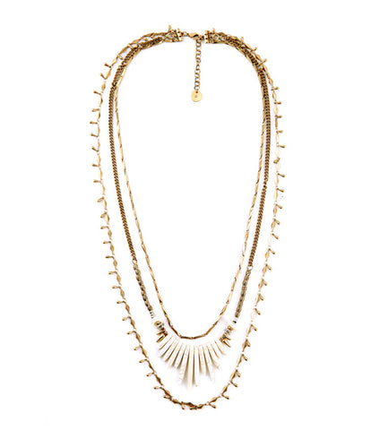 Natural Stone Long Chain Removable Multi Layer Necklace