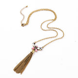 Handmade Tassel Long Butterfly Pendant Necklace