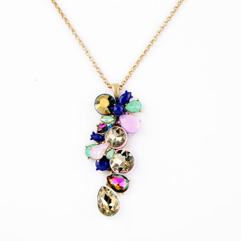 Color Crystal Long Chain Pendants Necklace