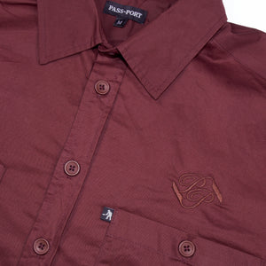 "PASS~PORT ""WORKERS BANNER"" S/S SHIRT BURGUNDY"