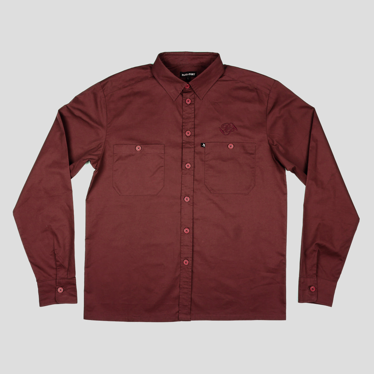 "PASS~PORT ""WORKERS BANNER"" L/S SHIRT BURGUNDY"