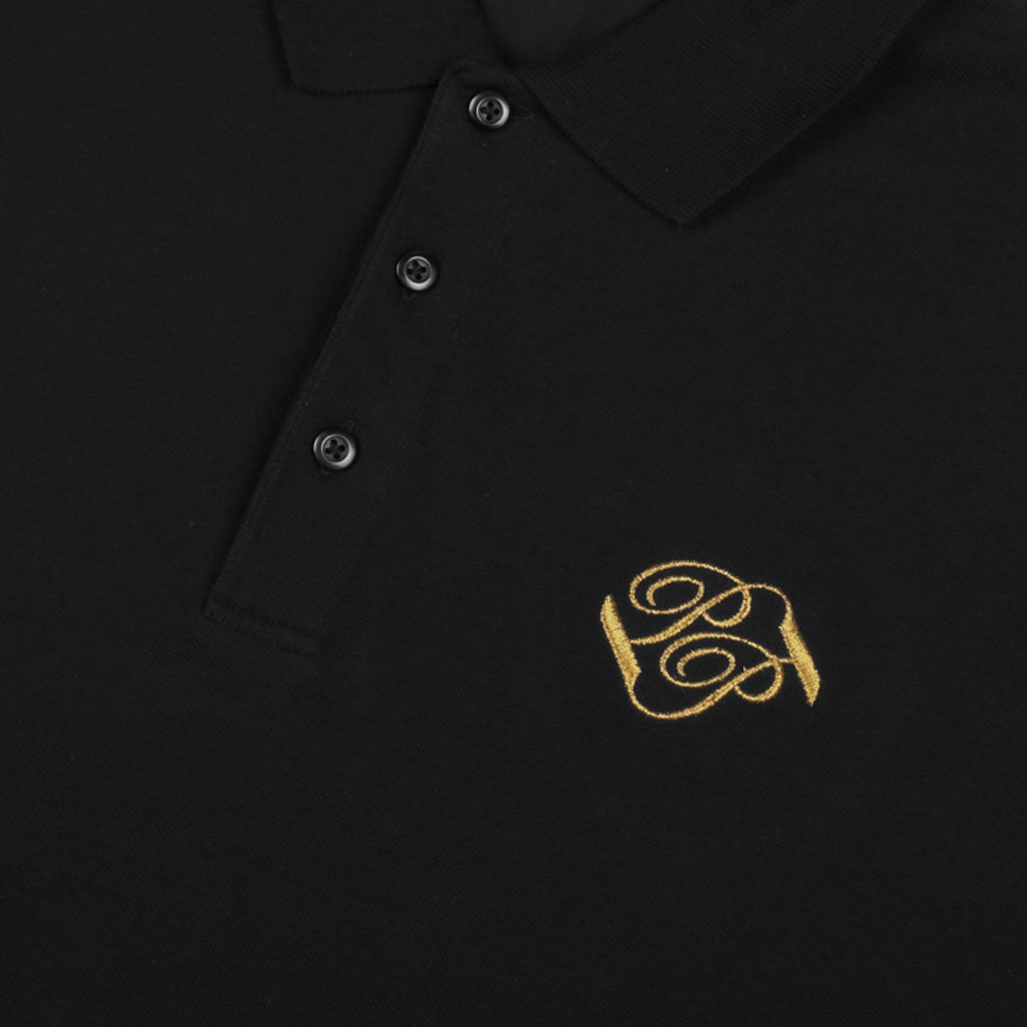 "PASS~PORT ""BANNER"" EMBROIDERED POLO BLACK"