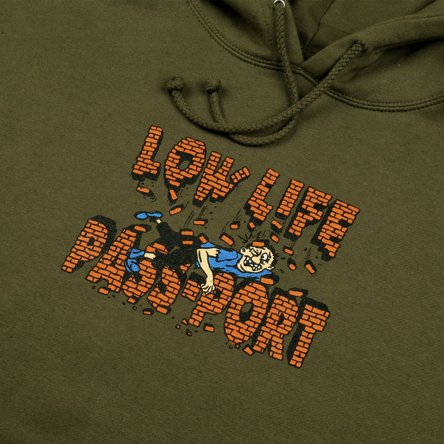 "PASS~PORT LOW LIFE ""BRICK"" HOOD ARMY GREEN"
