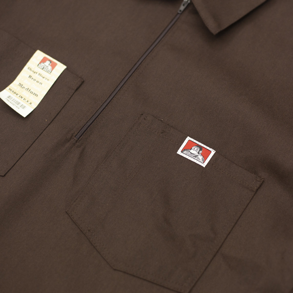 "BEN DAVIS ""SOLID"" SHIRT S/S 1/4 ZIP BROWN"