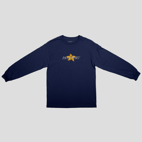 "PASS~PORT ""DAFFODIL APPLIQUE"" L/S TEE NVY"