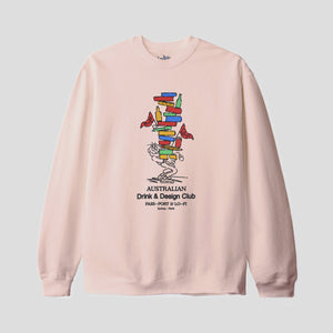 "LO-FI & PASS~PORT ""DRINK & DESIGN CLUB"" SWEATER DUSTY PINK"