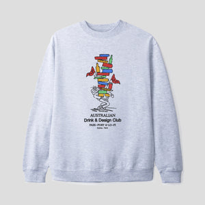 "LO-FI & PASS~PORT ""DRINK & DESIGN CLUB"" SWEATER HEATHER GREY"