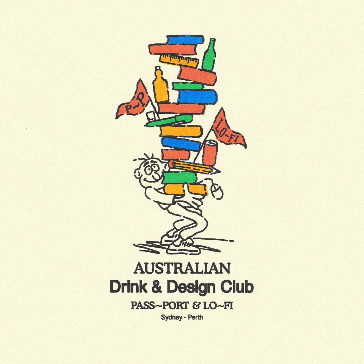 "LO-FI & PASS~PORT ""DRINK & DESIGN CLUB"" TEE CREAM"