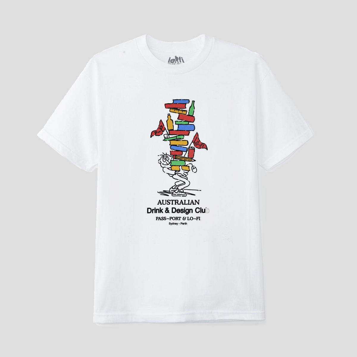 "LO-FI & PASS~PORT ""DRINK & DESIGN CLUB"" TEE WHITE"