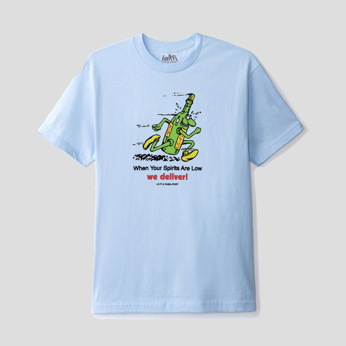 "LO-FI & PASS~PORT ""WE DELIVER"" TEE POWEDER BLUE"