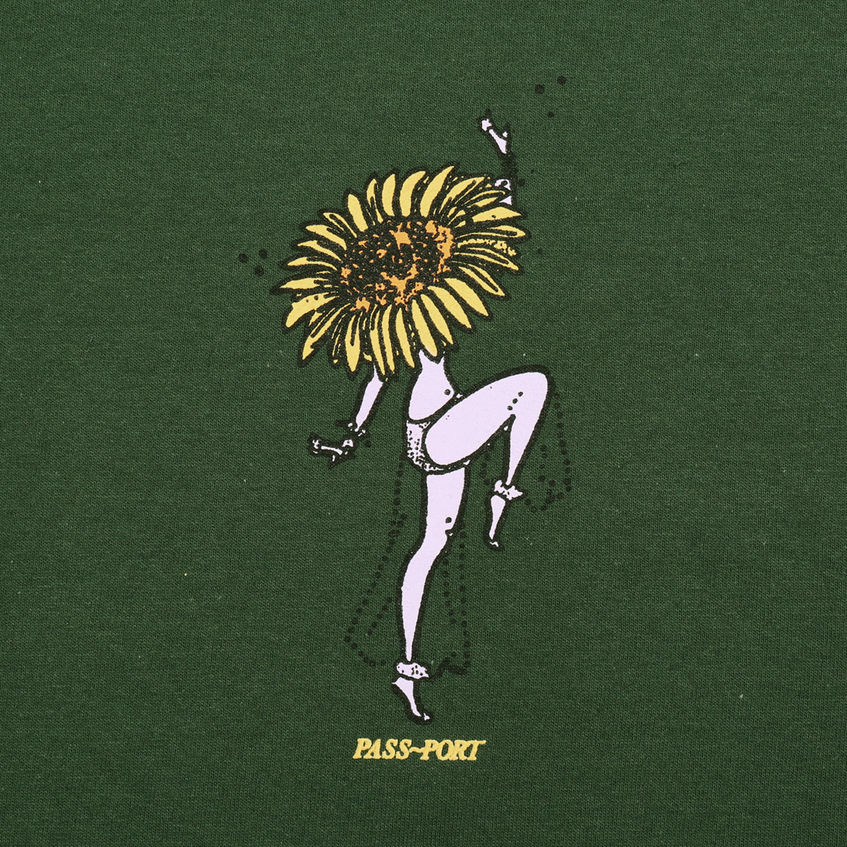 "PASS~PORT ""FLORAL DANCER"" TEE GREEN"