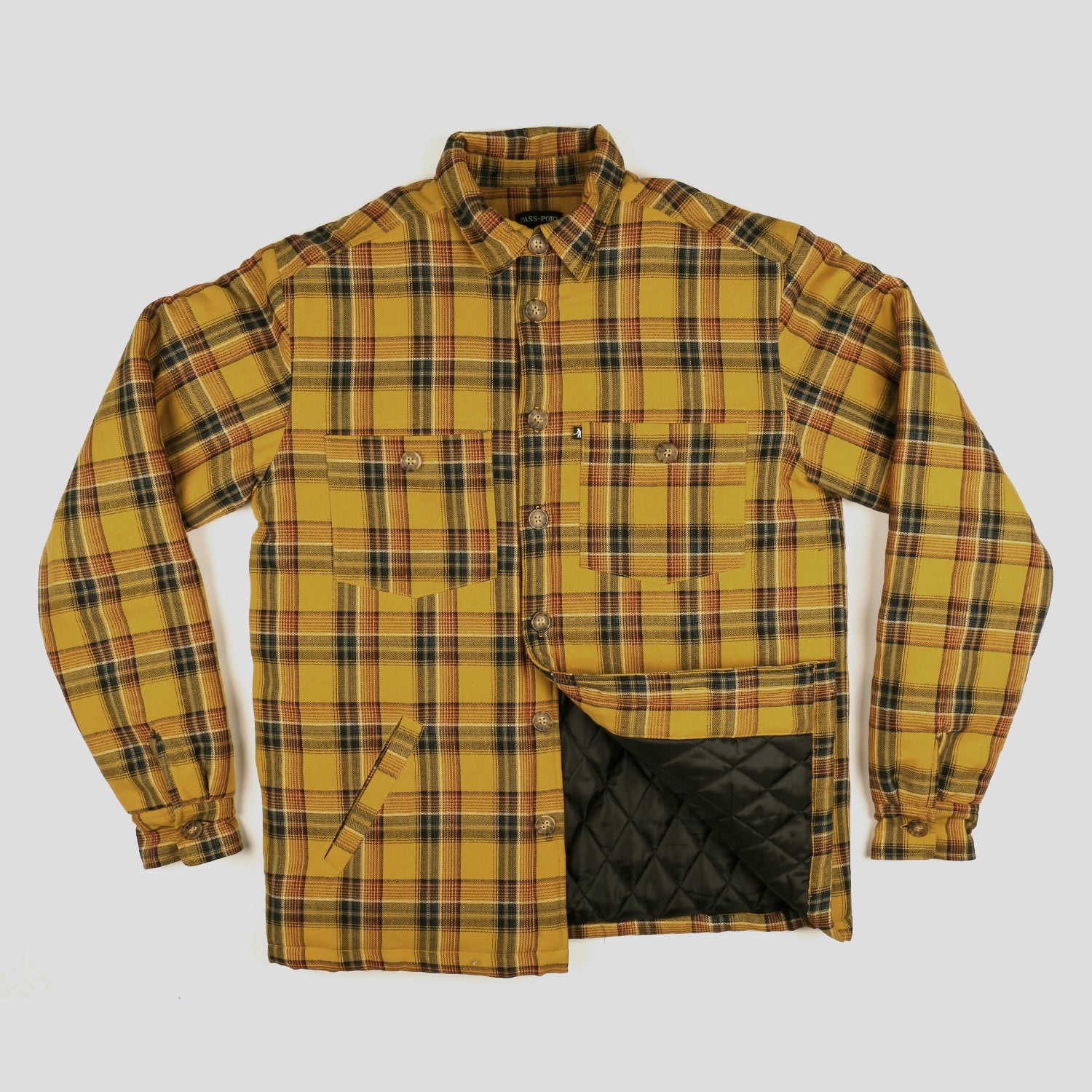 "PASS~PORT ""LATE QUILTED FLANNEL"" JACKET MUSTARD"