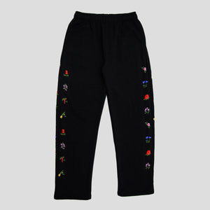 "PASS~PORT ""FLORAL EMBLEM"" PUFF TRACK PANTS BLACK"