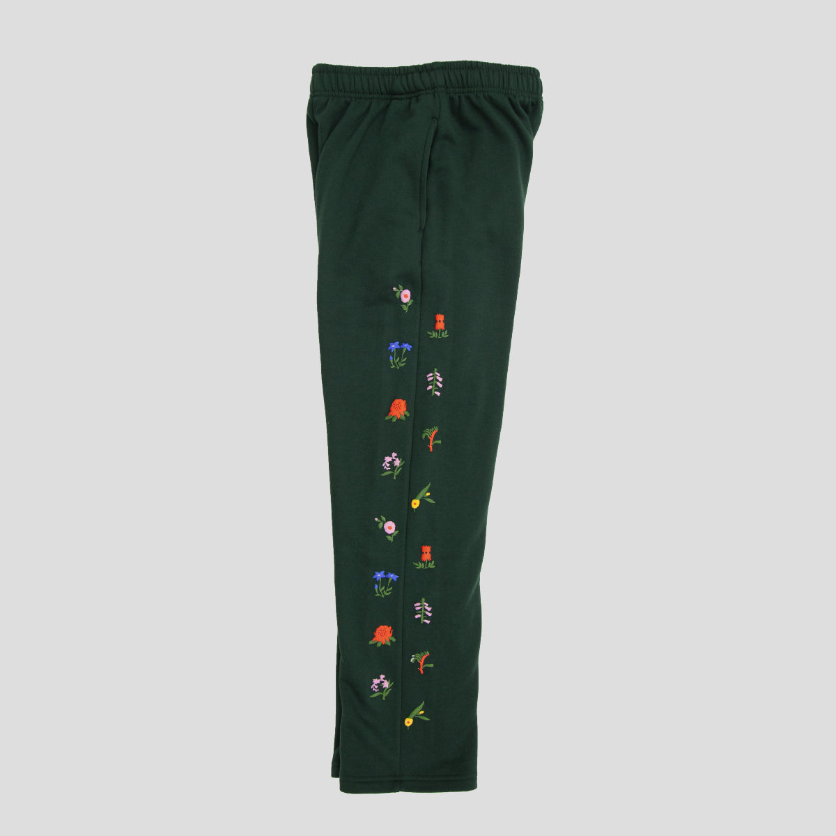 "PASS~PORT ""FLORAL EMBLEM"" PUFF TRACK PANTS FOREST GREEN"