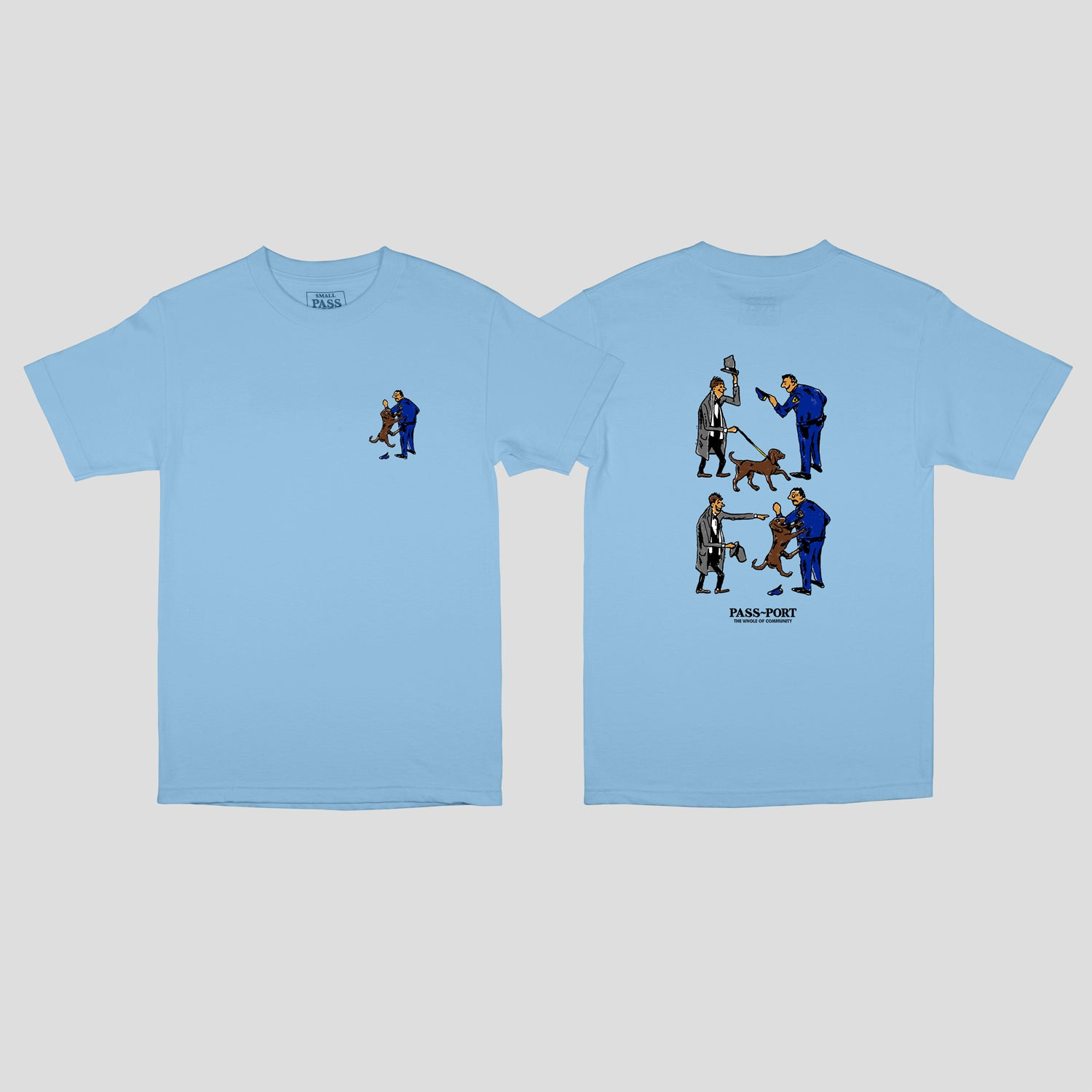 "PASS~PORT ""FRIENDLY K9"" TEE CAROLINA BLUE"