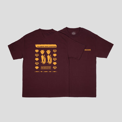 "PASS~PORT ""FLAMING HOT"" TEE BURGUNDY"