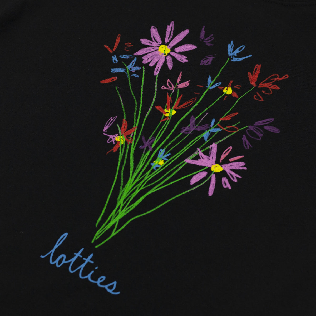 "LOTTIES ""FLOWERS"" TEE BLACK"