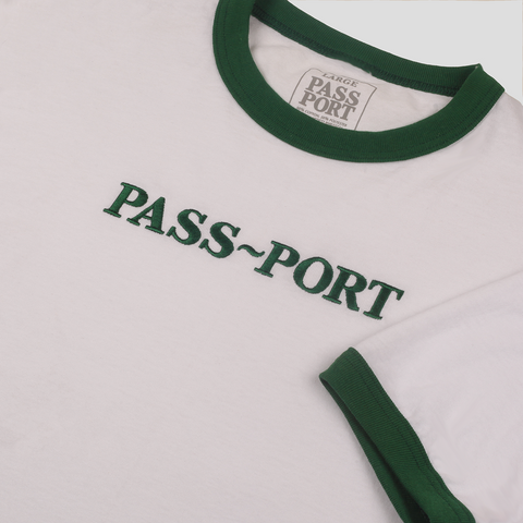 "PASS~PORT ""EMBROIDERY OFFICIAL"" RINGER TEE GRN"