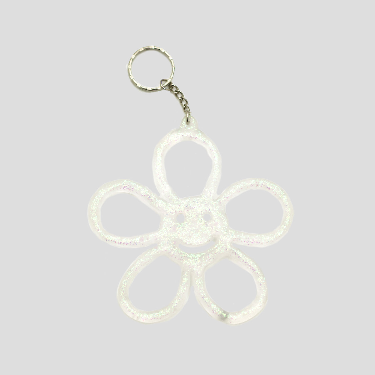 HAPPY FLOWER KEYRING TRANSLUCENT GLITTER