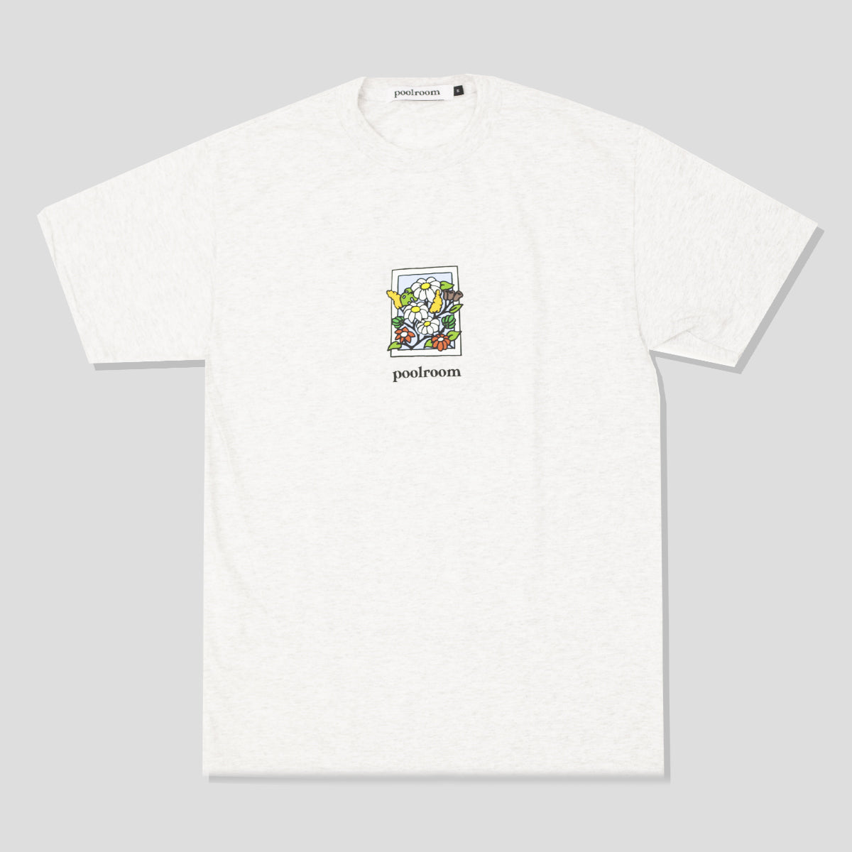 "POOLROOM ""IN BLOOM"" TEE ASH"