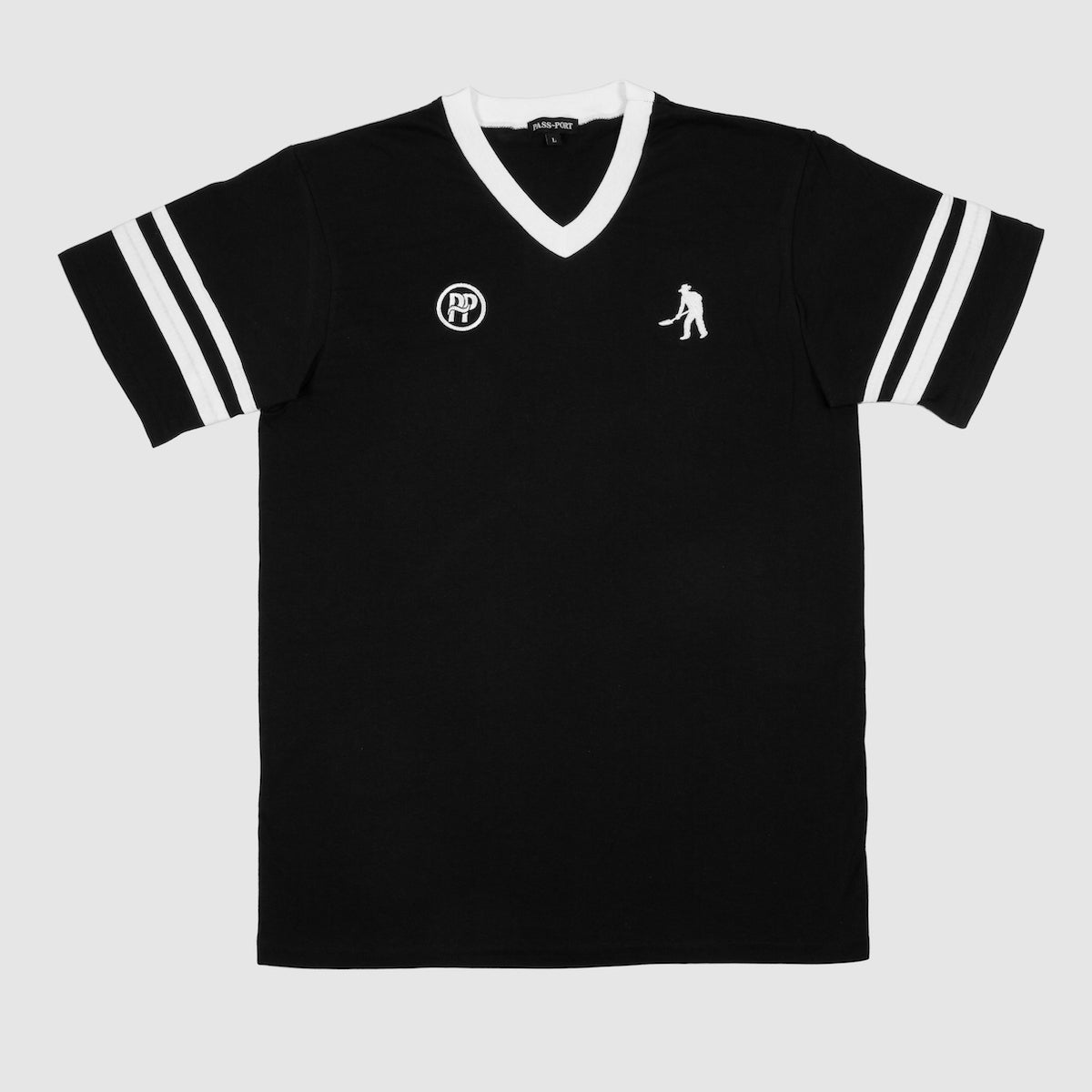 "PASS~PORT ""WORKERS STRIPES"" JERSEY BLACK / WHITE"