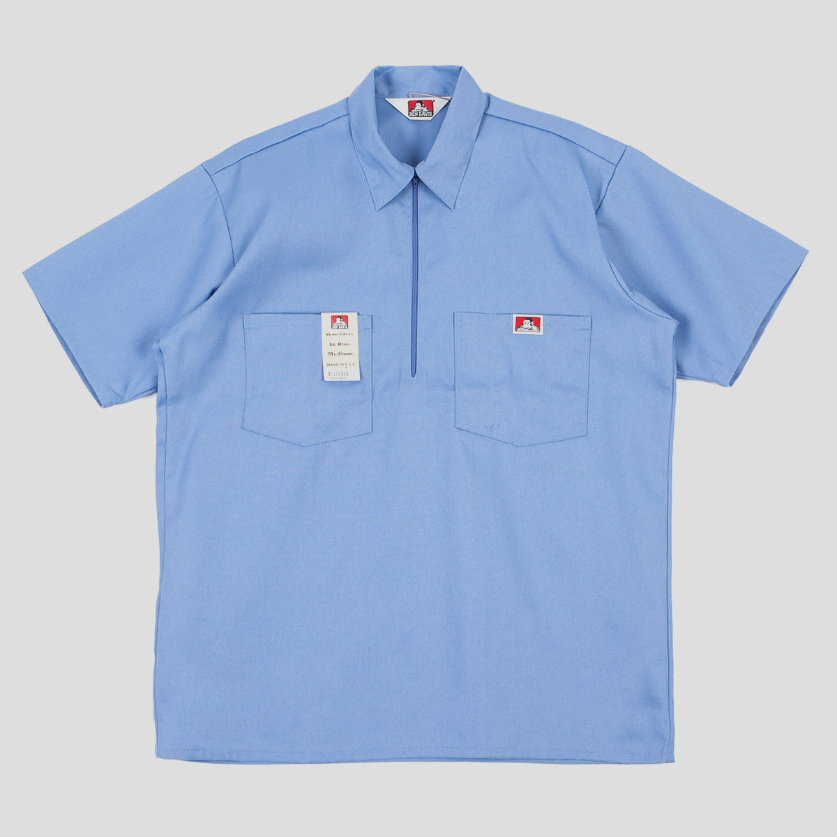 "BEN DAVIS ""SOLID"" SHIRT S/S 1/4 ZIP LIGHT BLUE"