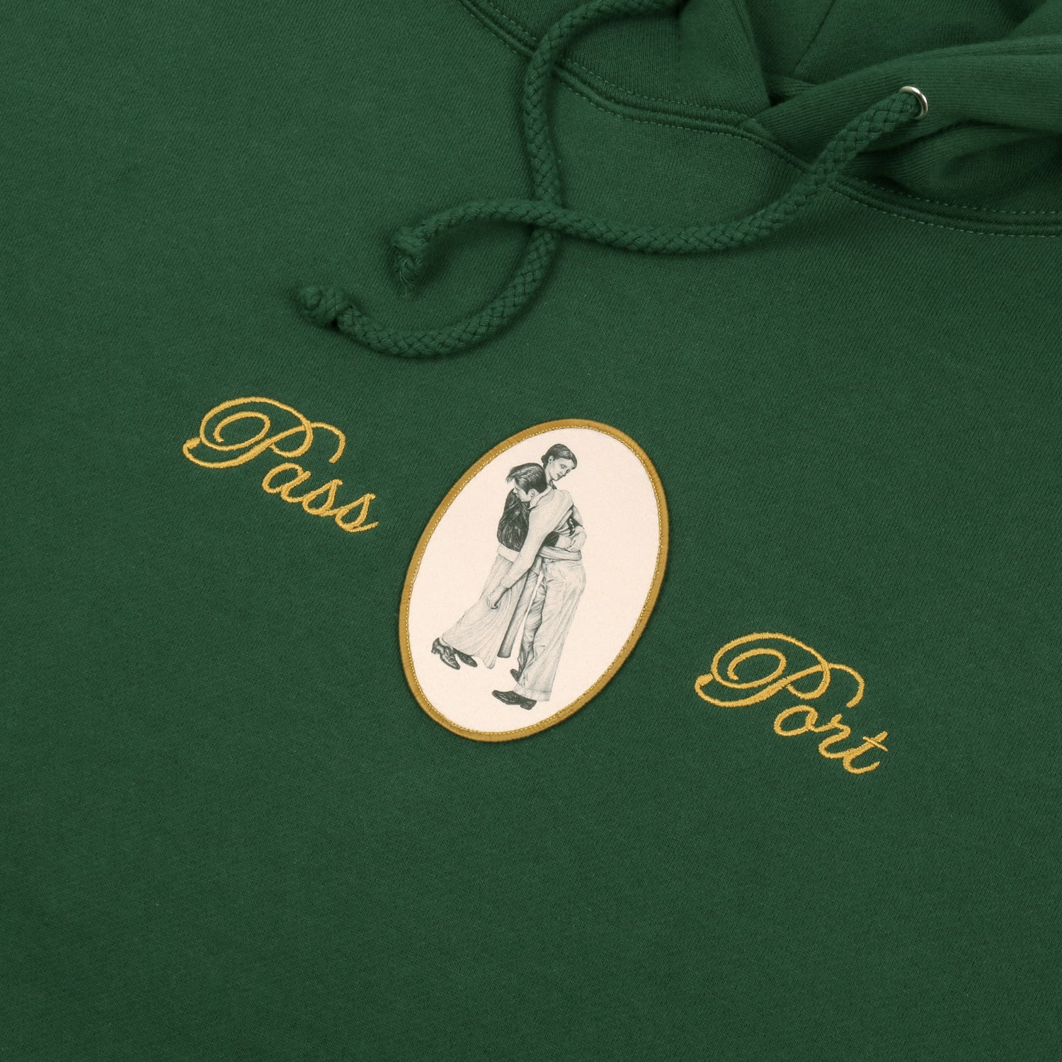 "PASS~PORT ""LEAN ON ME"" HOOD DARK GREEN"