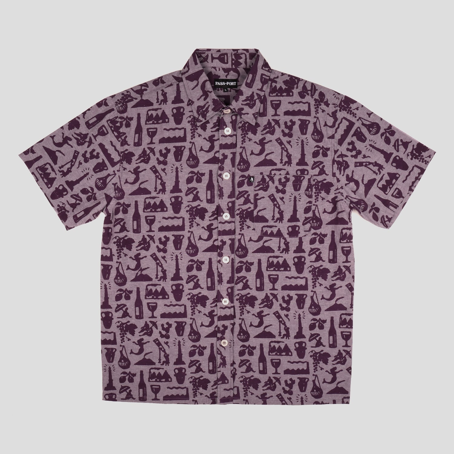 "PASS~PORT ""LIFE OF LEISURE"" S/S SHIRT MERLOT"