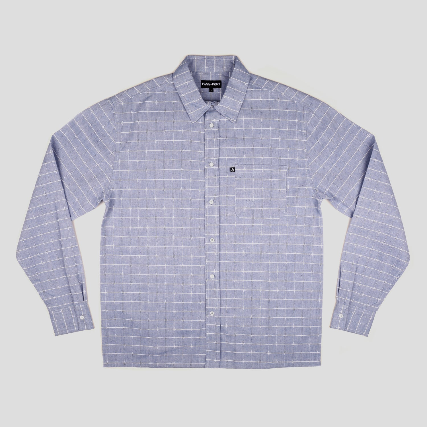 "PASS~PORT ""WORKERS LINE WIRE"" L/S SHIRT BLUE"